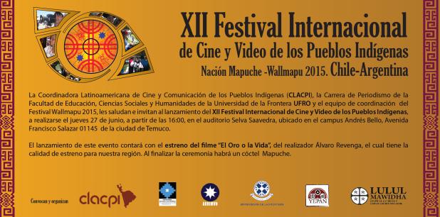 Invitación Festival Cine Wallmapu 2015