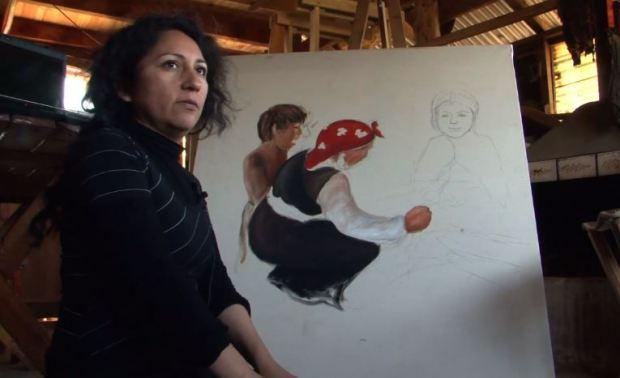 Captura Kimvn Mapuche Lafkenche expresado en el lienzo - Ingrid Painemilla (video)